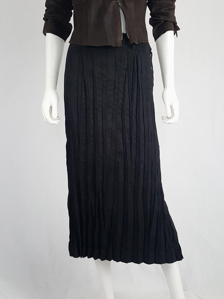 a2b1b8471d Issey Miyake Fête black suede pleated maxi skirt | V A N II T A S