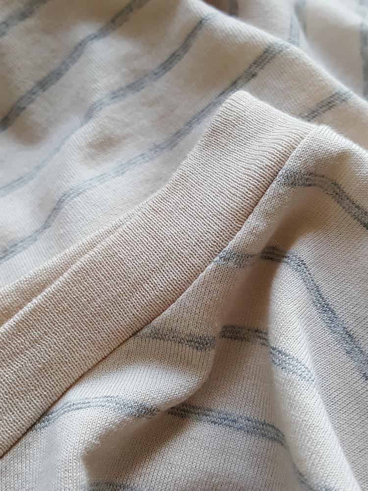 Maison Martin Margiela beige striped sideways-worn jumper — spring 2005