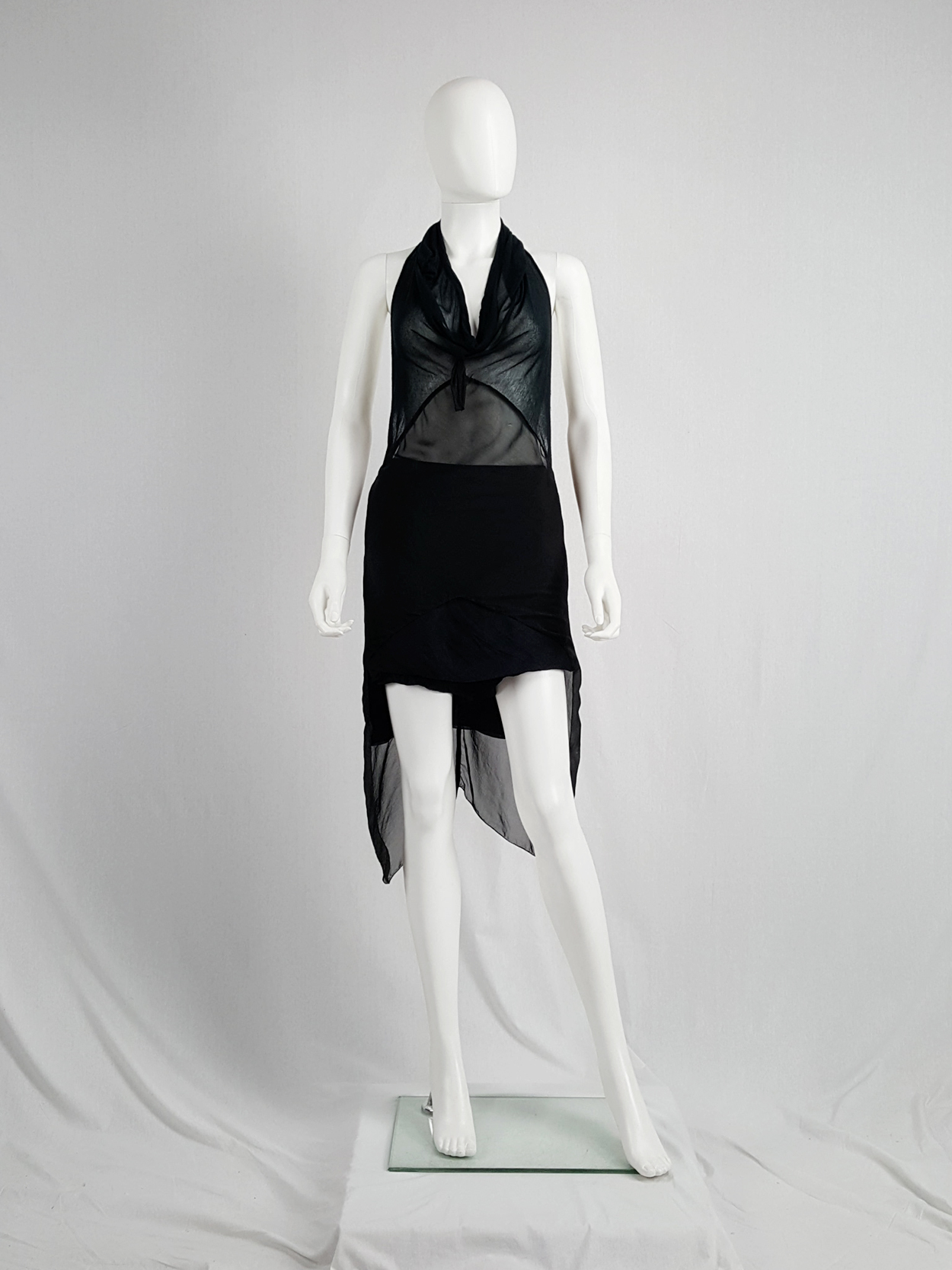 19e22758a8d8e vintage Rick Owens WISHBONE black sheer top with train spring 2007 155918