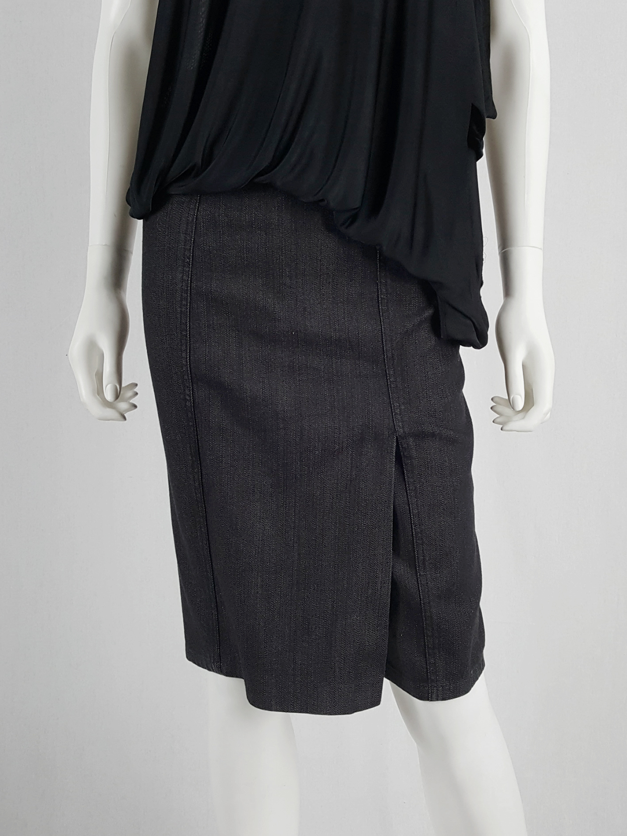 vaniitas archival Maison Martin Margiela denim skirted shorts with front flap runway fall 2007 154856