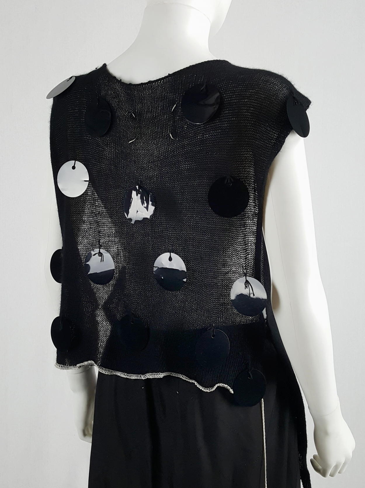 Maison Martin Margiela black knit top with oversized sequins — fall 2000