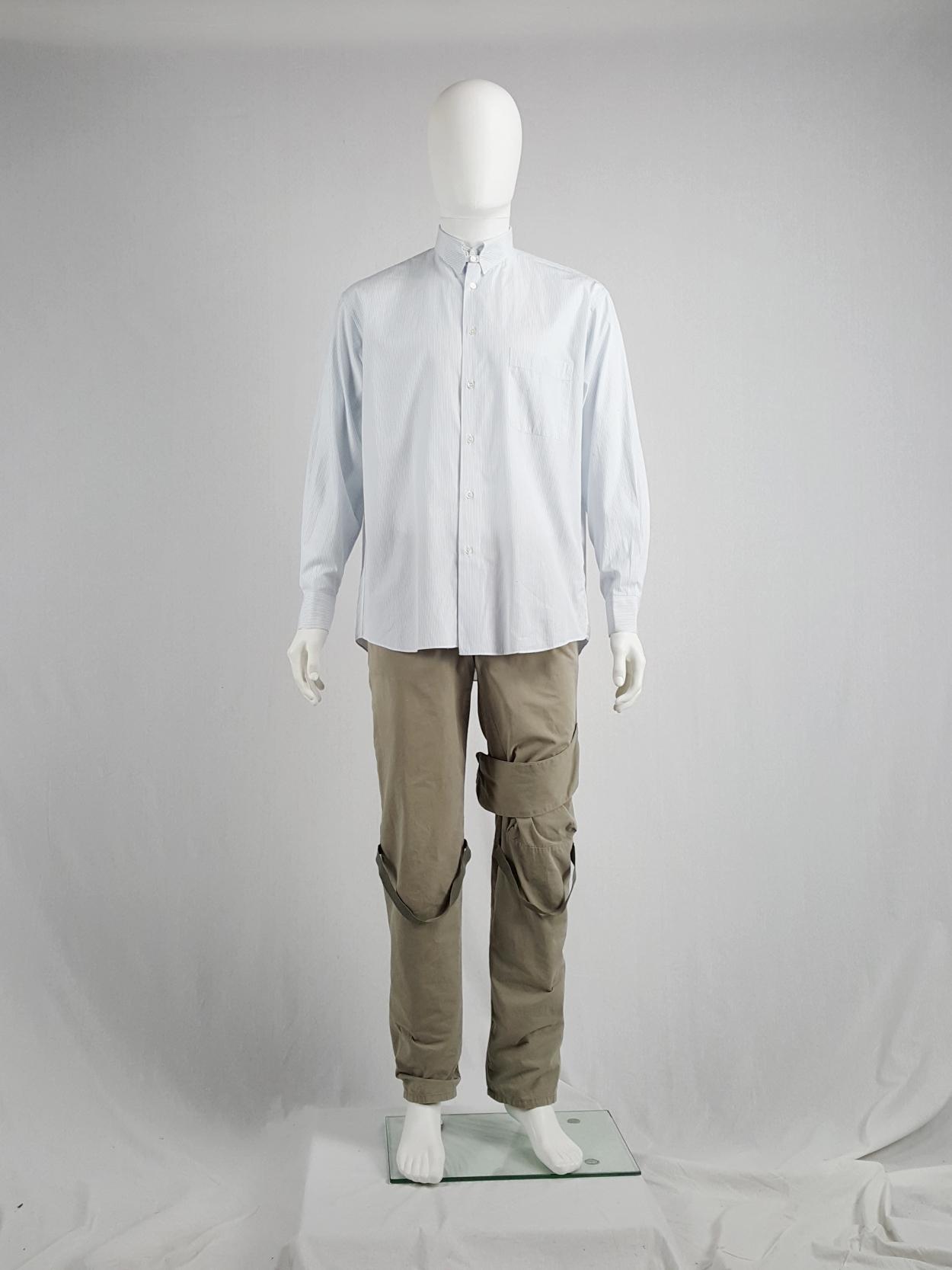 Tokio Kumagaï white and blue striped shirt with collar strap