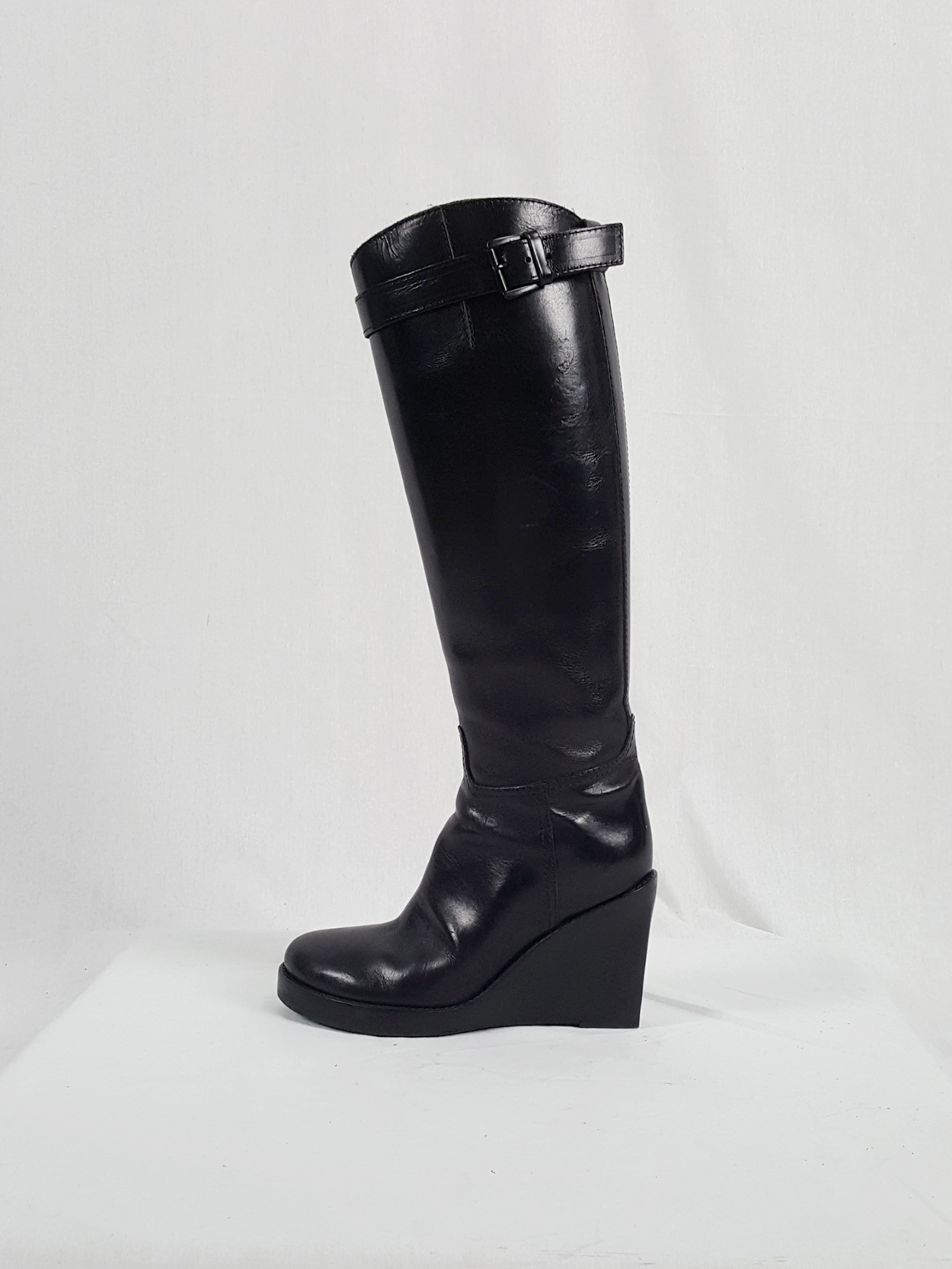 vaniitas vintage Ann Demeulemeester tall black wedge boots with belt strap detail 153807