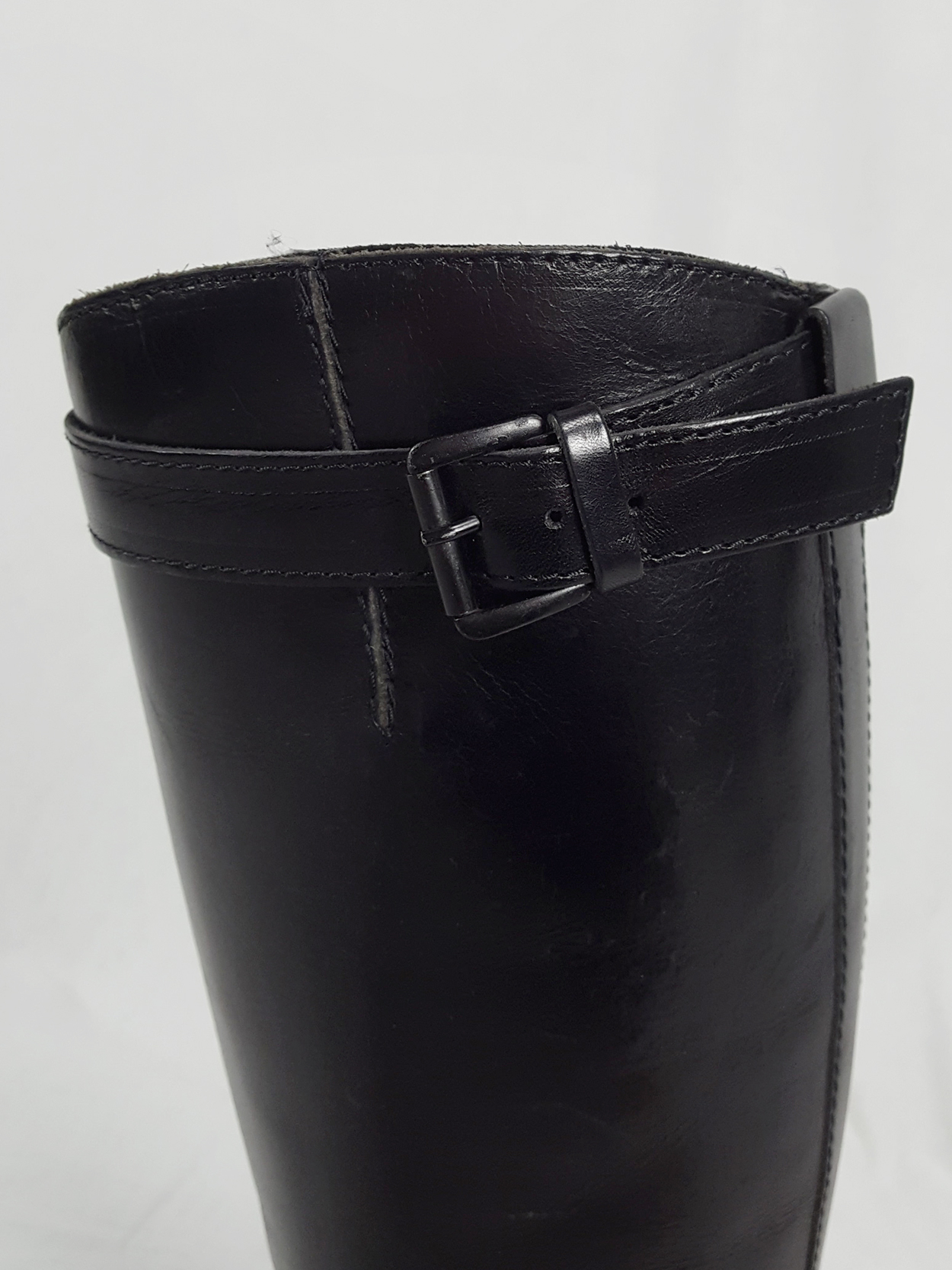 vaniitas vintage Ann Demeulemeester tall black wedge boots with belt strap detail 154129