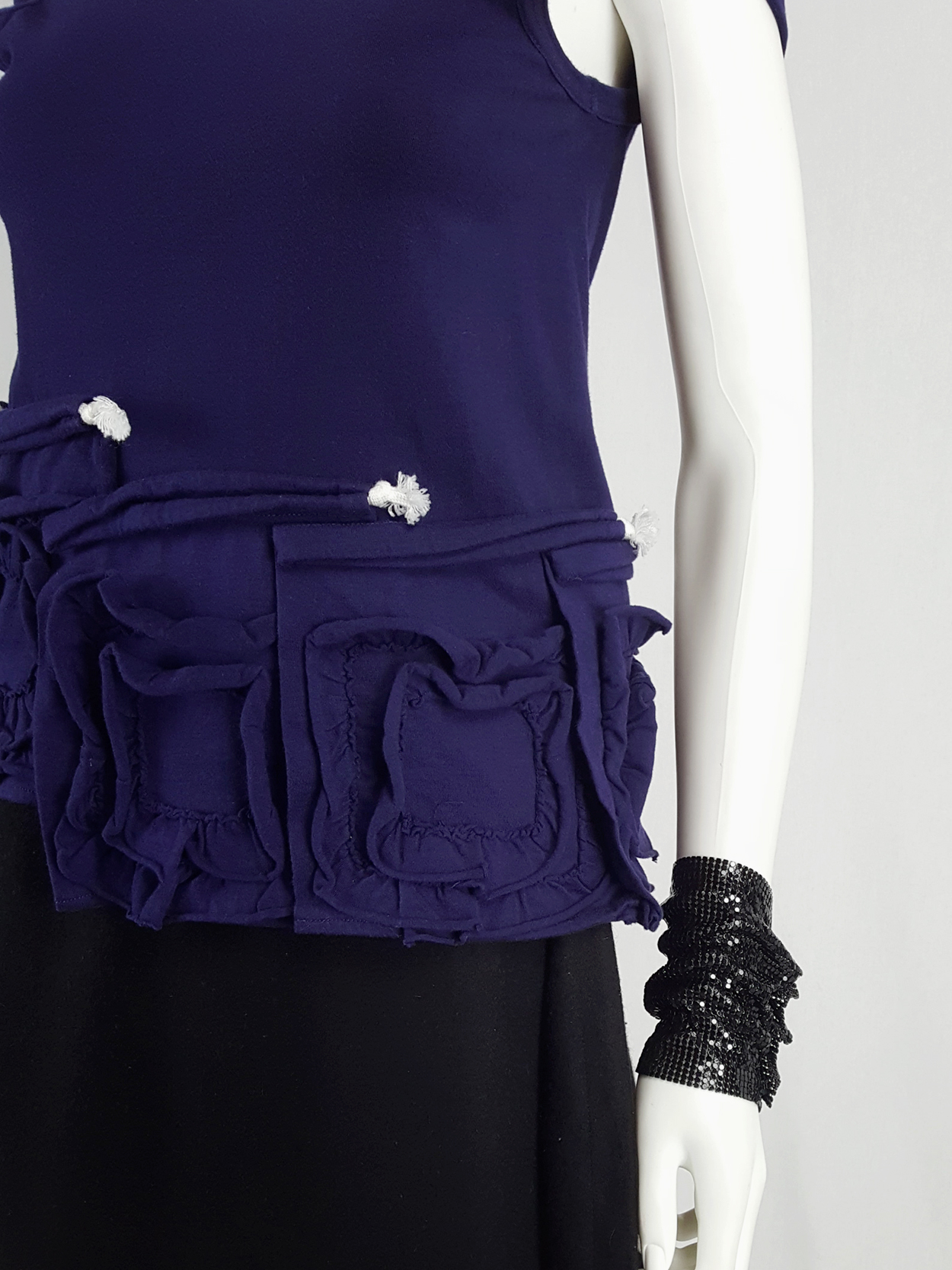 Comme des Garçons blue t-shirt with square ruffled panels — spring 2008