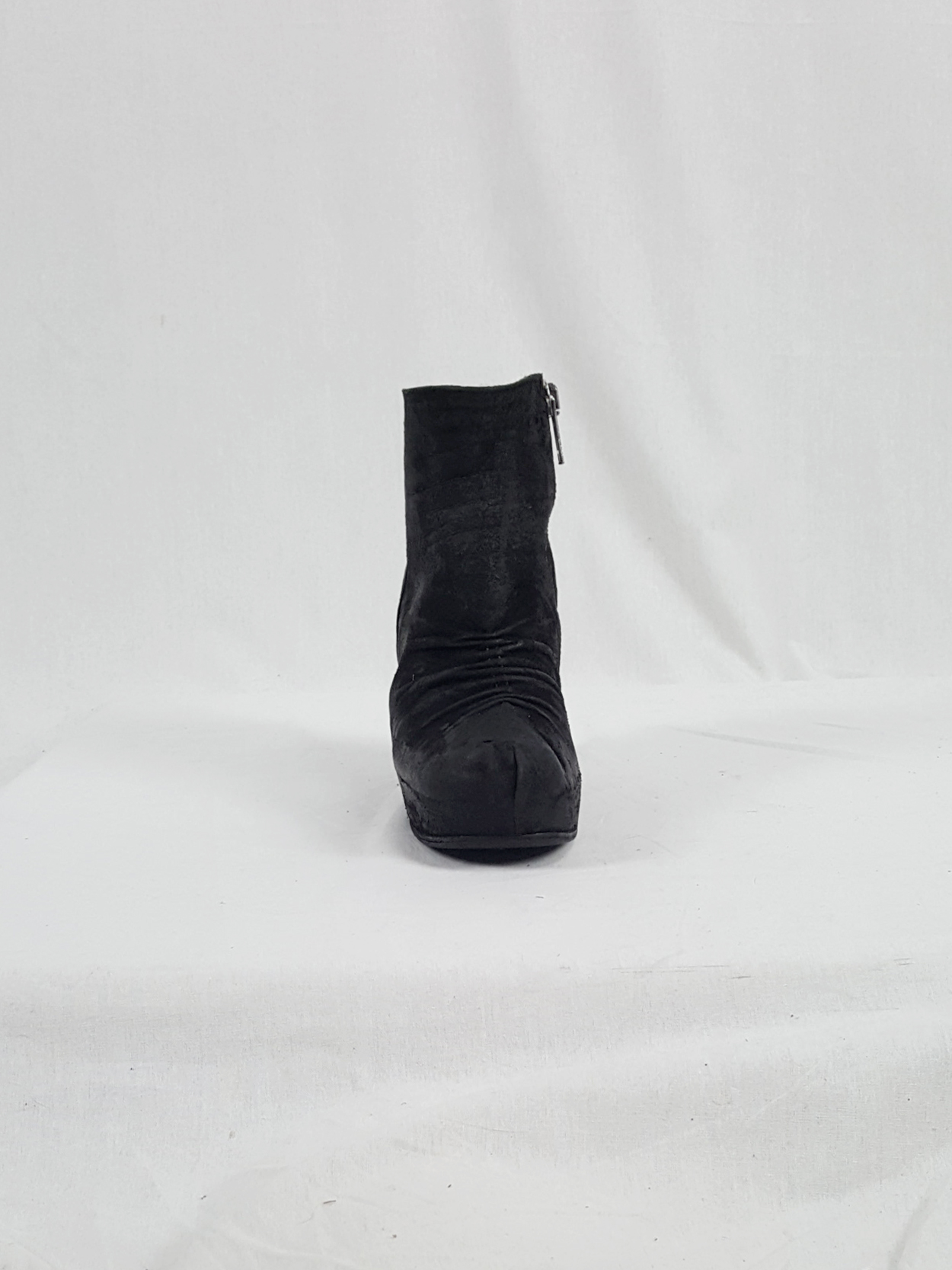 Rick Owens black suede ankle boots with wedge heel and hidden platform (37.5)