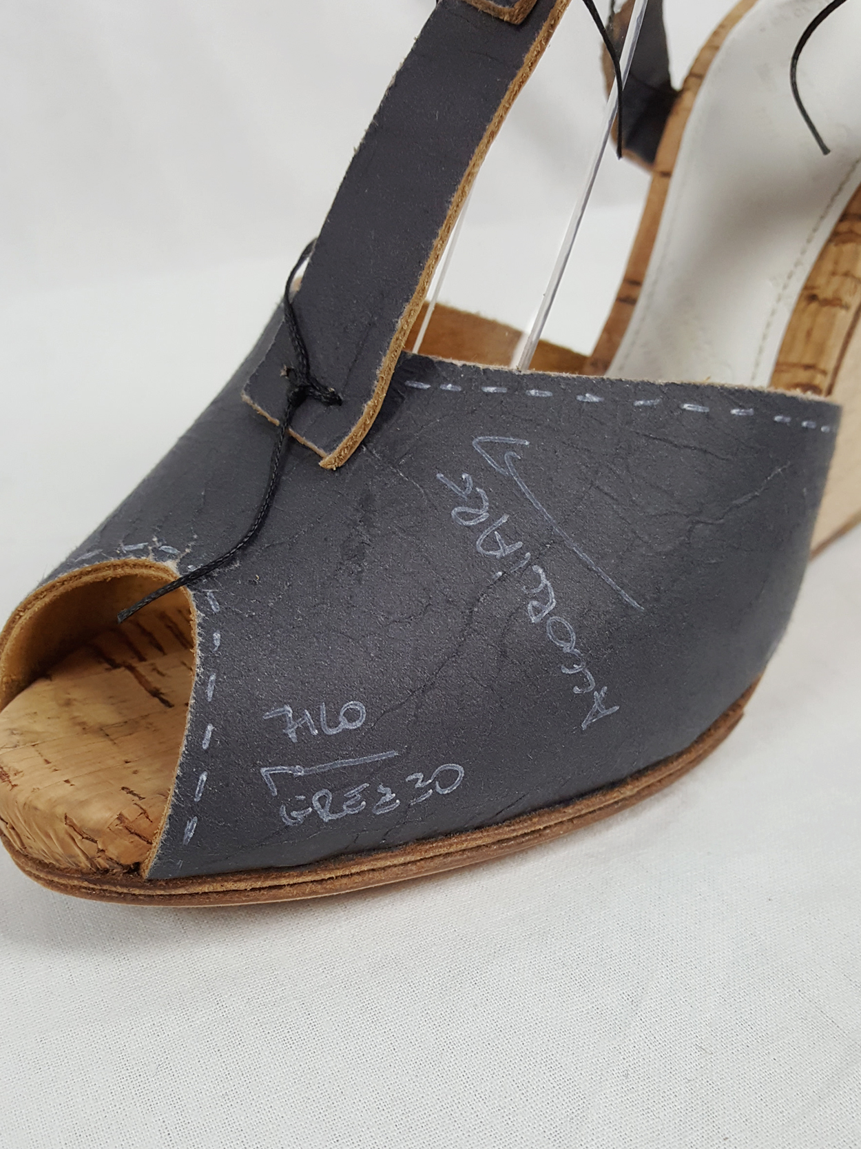 Maison Martin Margiela grey prototype sandals with handwriting (37) — spring 2007
