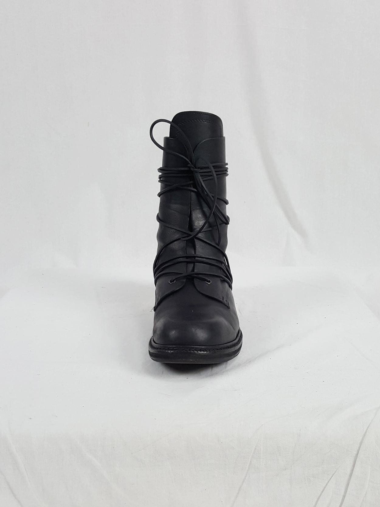 vaniitas vintage Dirk Bikkembergs black tall boots with laces through the metal heel 1990S 90S 174934