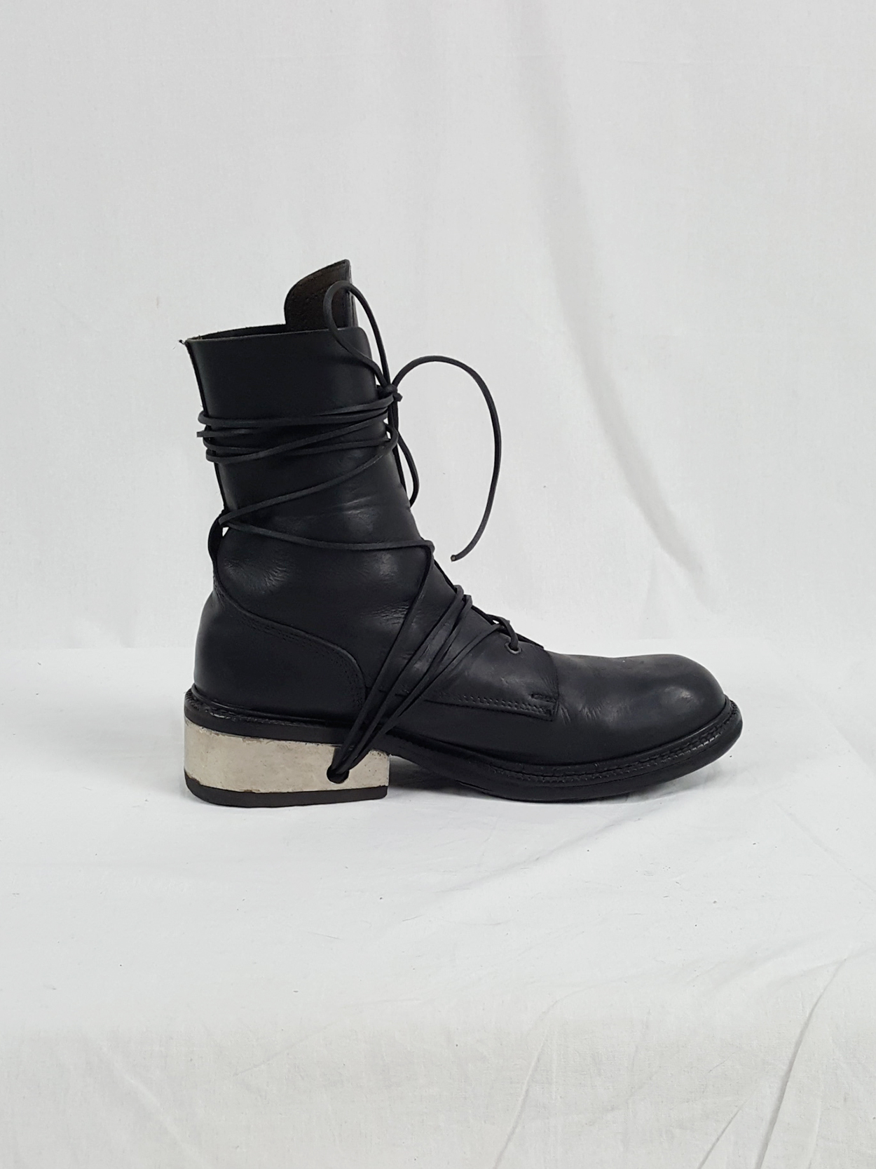 vaniitas vintage Dirk Bikkembergs black tall boots with laces through the metal heel 1990S 90S 175011