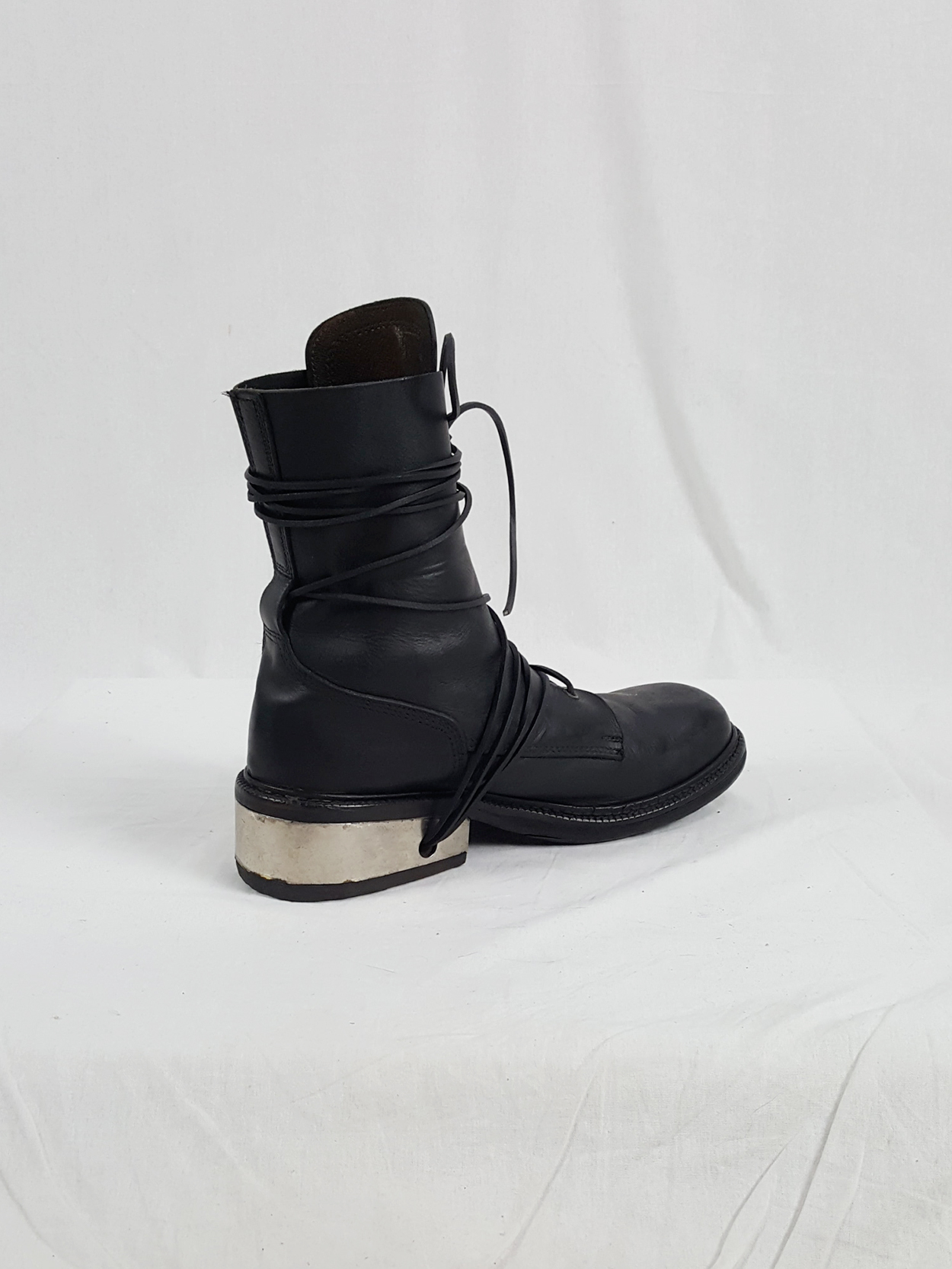 vaniitas vintage Dirk Bikkembergs black tall boots with laces through the metal heel 1990S 90S 175034