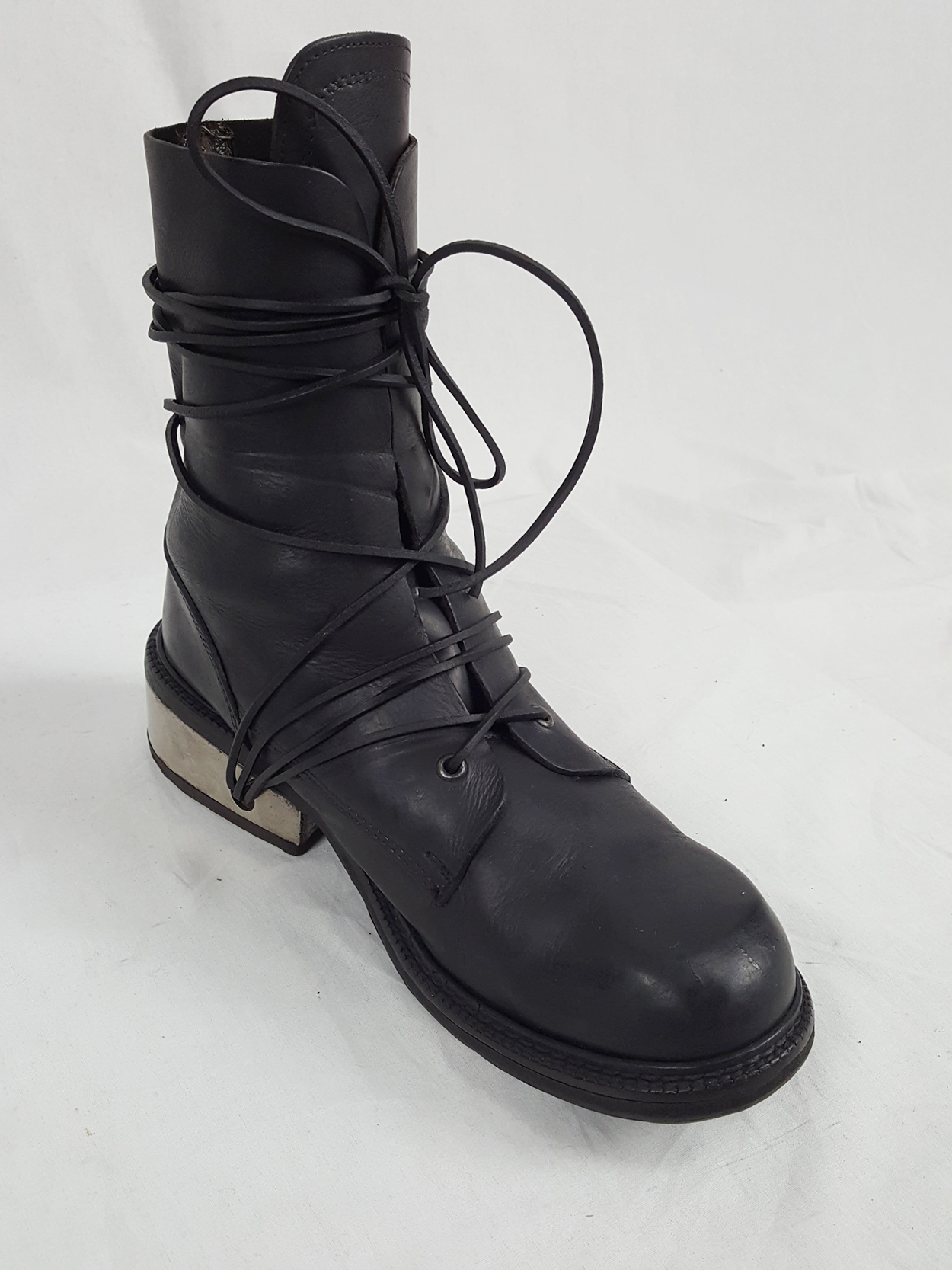 vaniitas vintage Dirk Bikkembergs black tall boots with laces through the metal heel 1990S 90S 175129