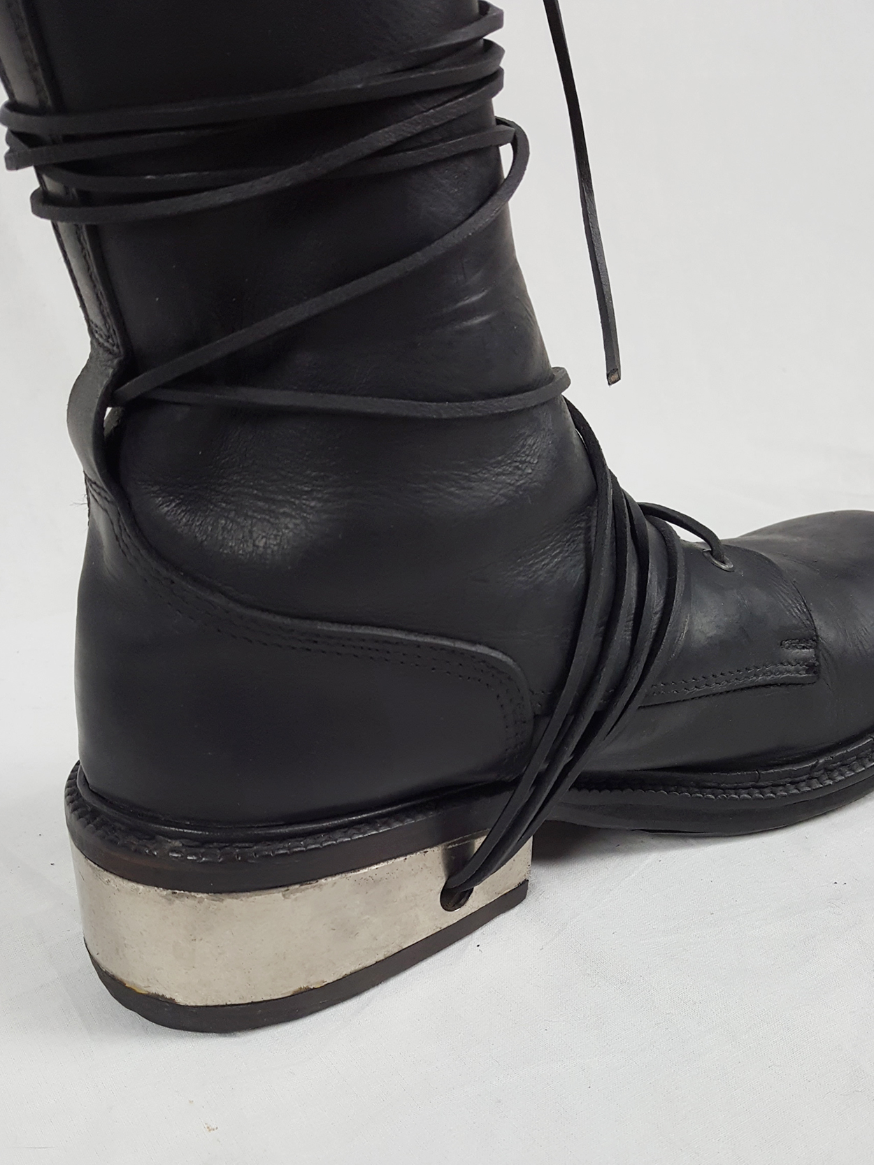 vaniitas vintage Dirk Bikkembergs black tall boots with laces through the metal heel 1990S 90S 175139(0)