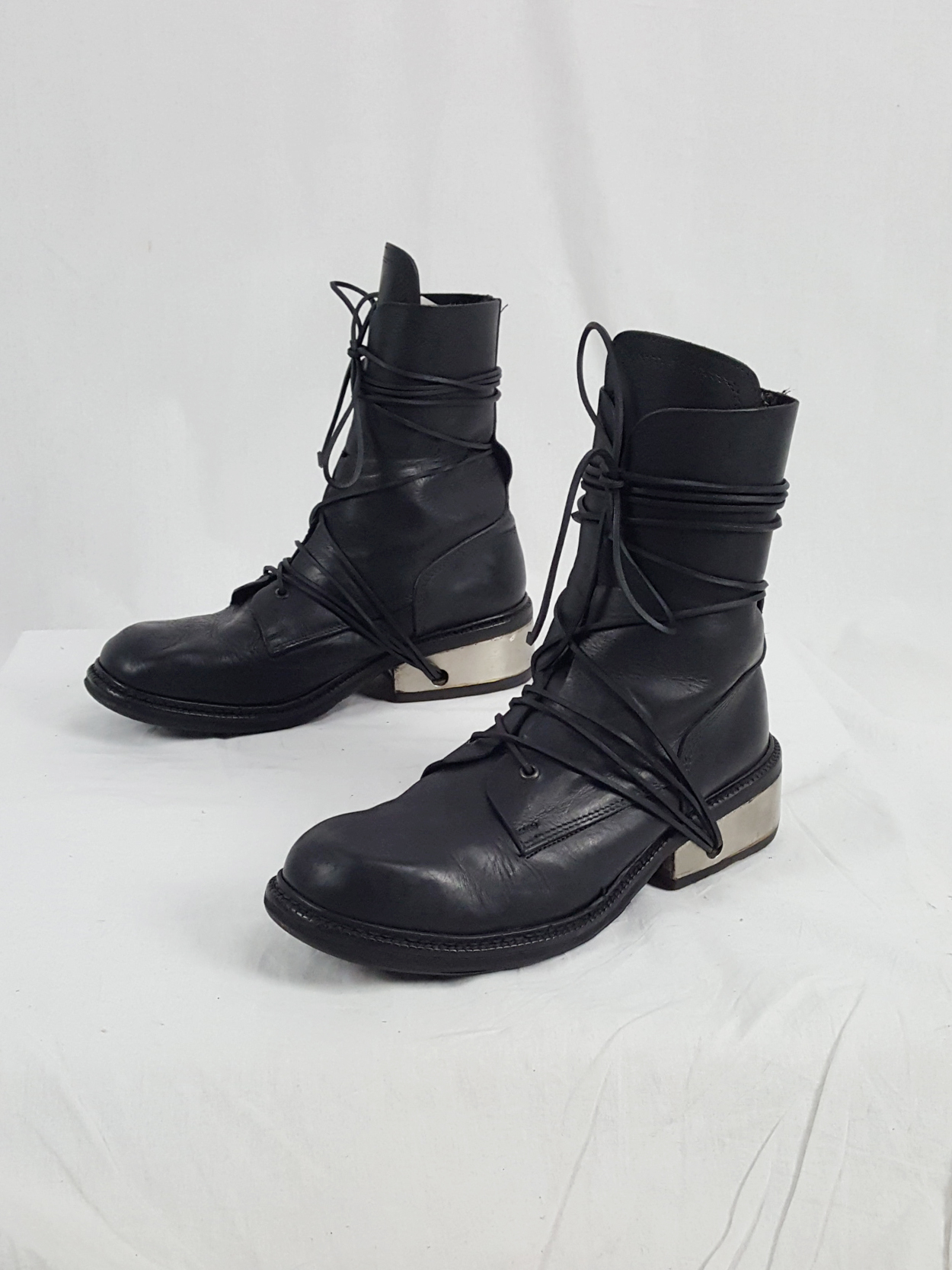 vaniitas vintage Dirk Bikkembergs black tall boots with laces through the metal heel 1990S 90S 175430