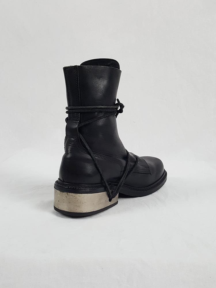 Vaniitas Dirk Bikkembergs black tall boots with laces through the metal heel 90S 1990S 191729