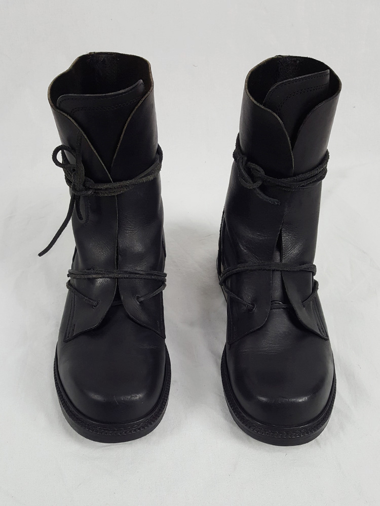 Dirk Bikkembergs black tall boots with laces through the metal heel (42) — late 90's
