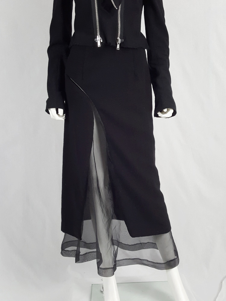 Comme des Garçons black skirt with curved mesh cutout — fall 1997