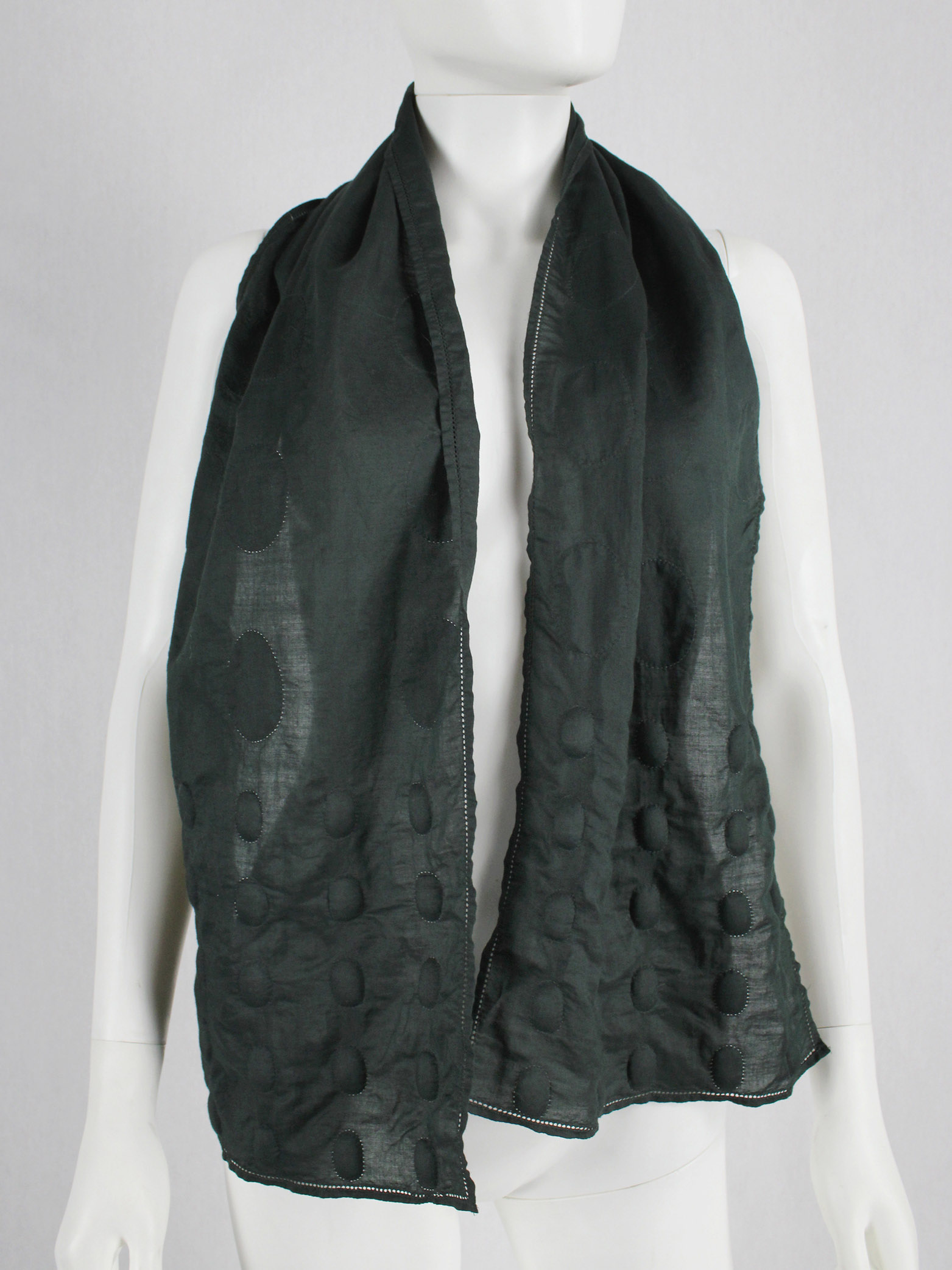Issey Miyake dark green scarf with 3D padded circles