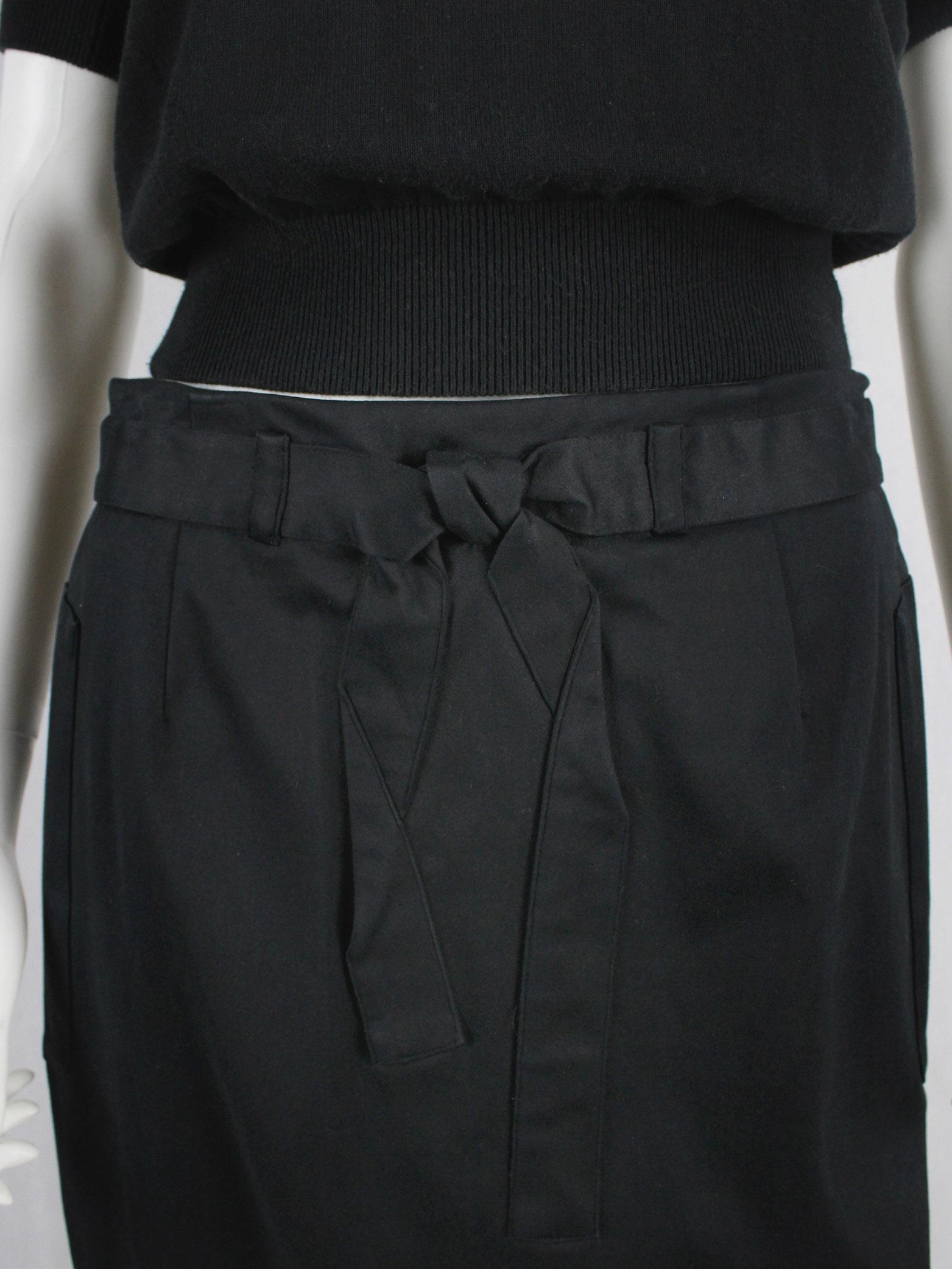 Maison Martin Margiela black maxi skirt with trompe-l'oeil bow — spring 1999