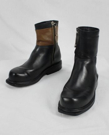 Dirk Bikkembergs black boots with mountaineering tip and brown band (41) — late 90's
