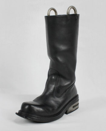 Dirk Bikkembergs black tall boots with metal heel and metal pulls (42) — late 90's