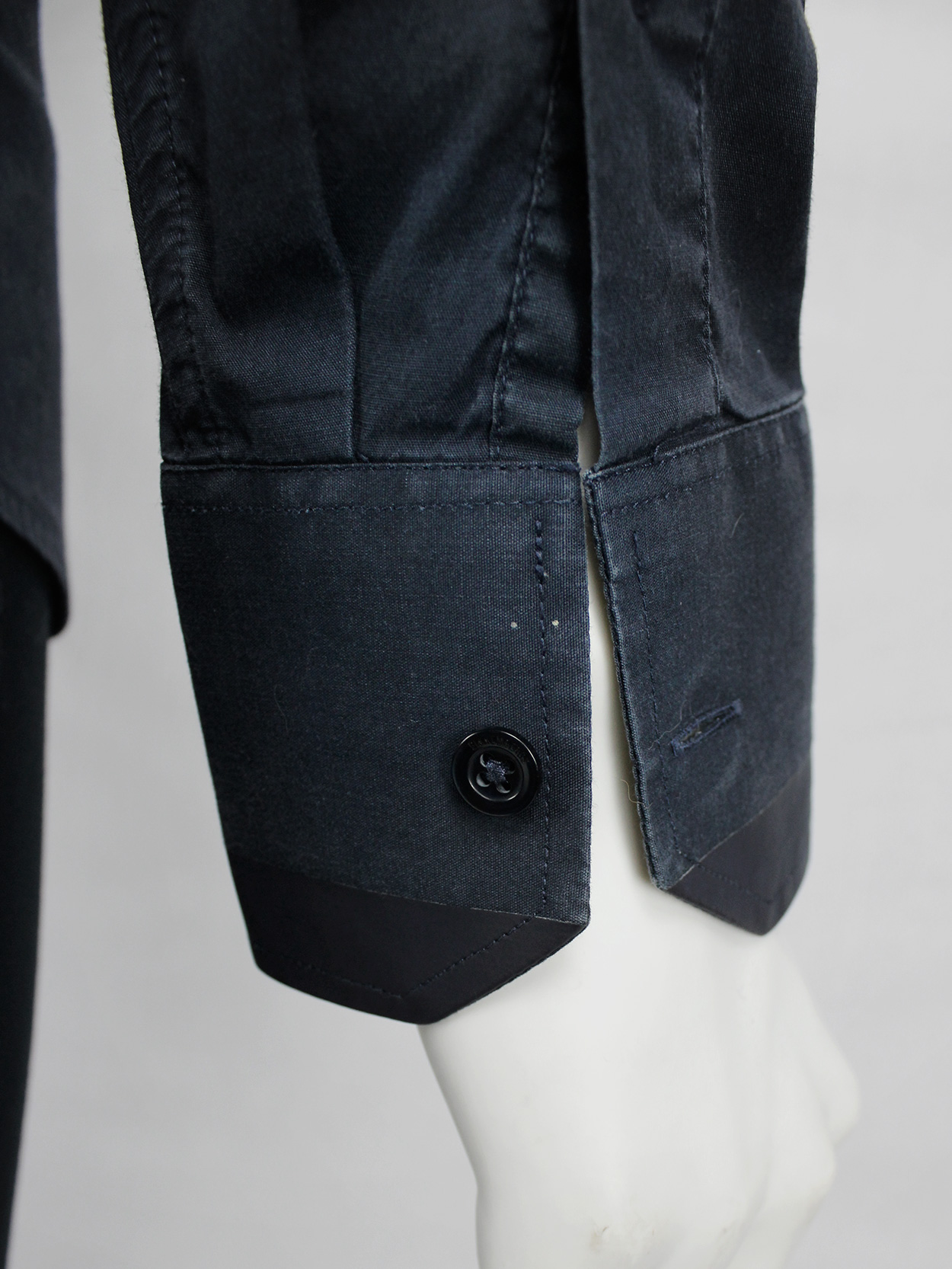 vaniitas vintageDirk Bikkembergs blue shirt with laminated trims on the collar and cuffs 3871